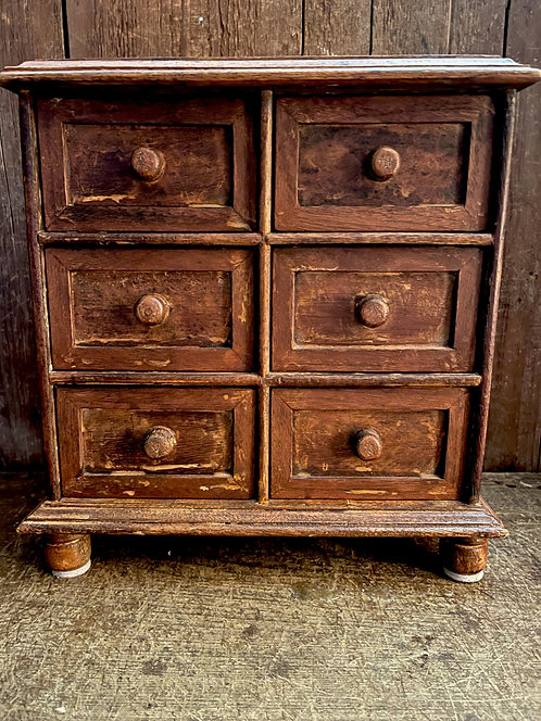 19th C 6 Drawer Spice Chest on Feet