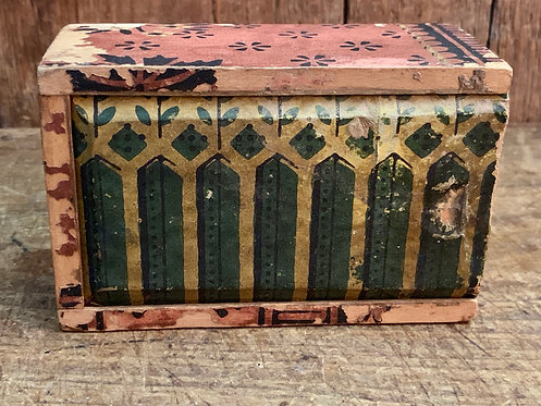 19th C Small Wallpaper Covered Slide Top Box