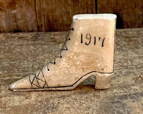 Hand Carved Dated Soapstone Lady's Boot