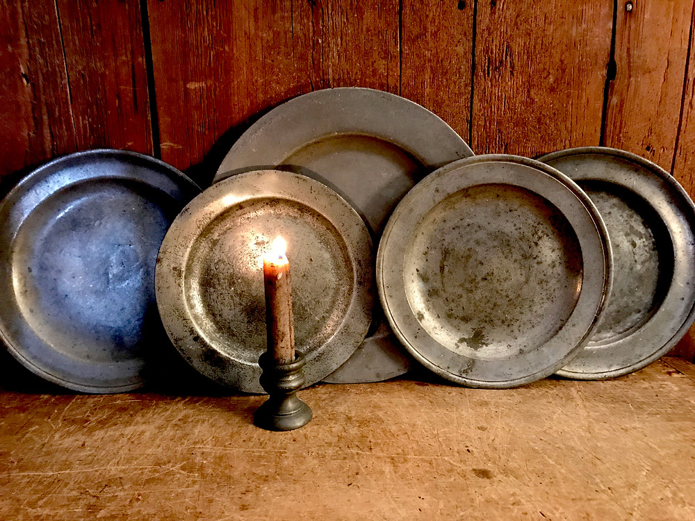 Pewter plates from the 1700s