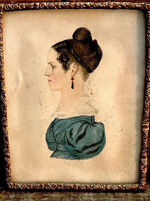 1834 Signed and Dated Miniature Portrait of a Lady
