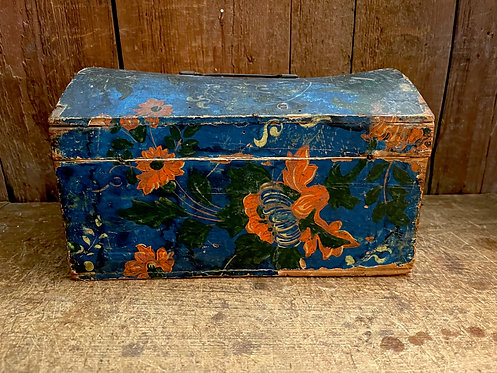 Exceptional c 1830 Wallpaper Covered Dome Top Box