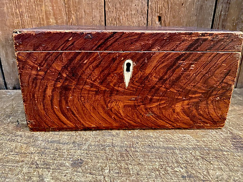 C1840 Grain Painted Box with Bone Escutcheon