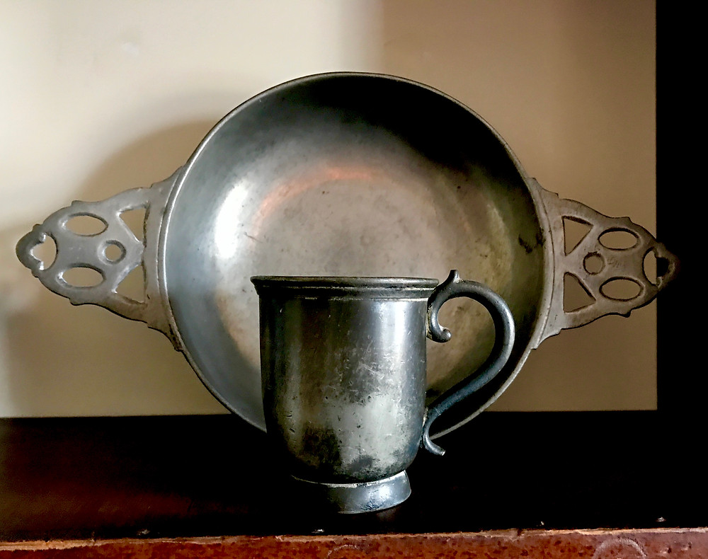 Pewter porringer and cup