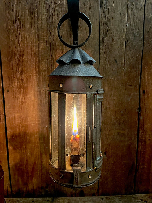 Ca 1830 Small Glass and Tin Candle Lantern with Tallow Candle