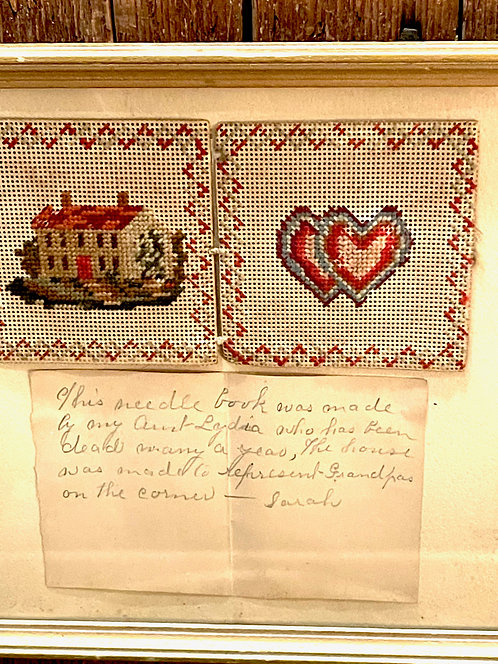 Framed 19th C Needle Book with Note