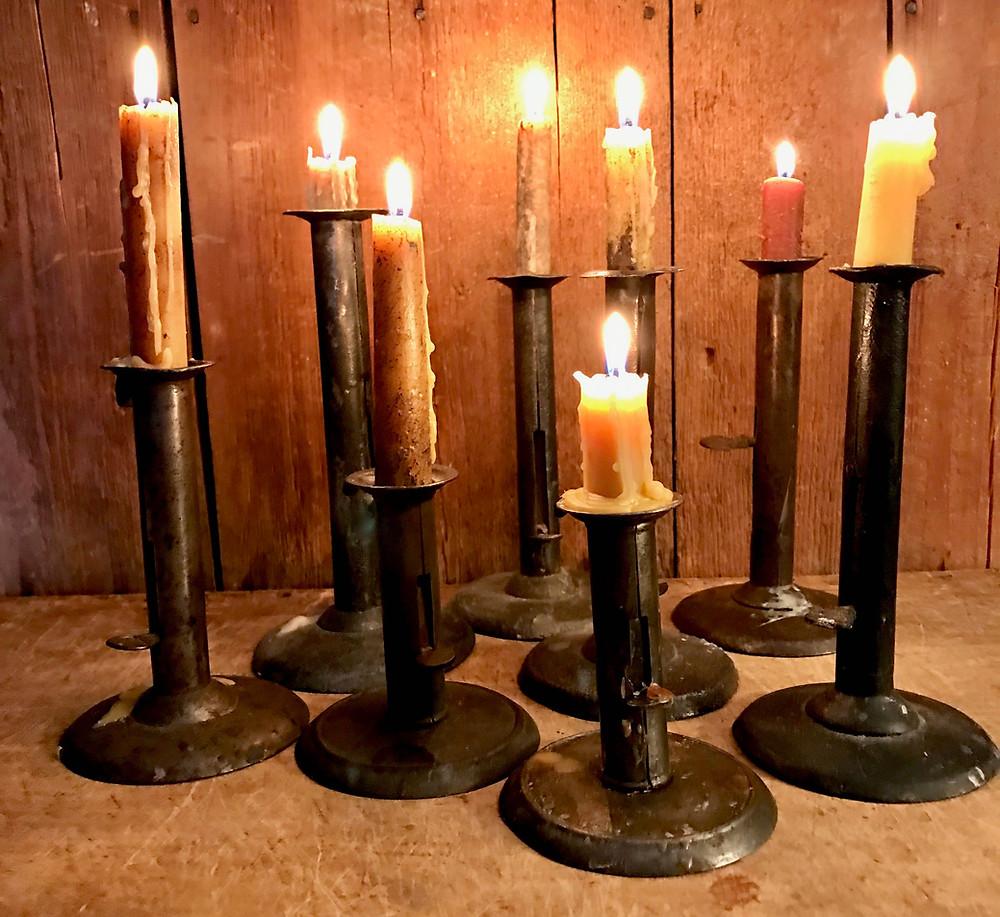 hogscraper candlesticks, primitive, country antiques
