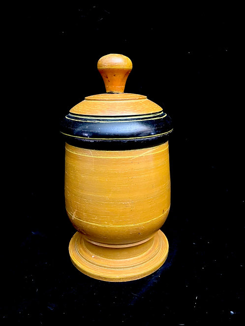 19th C Turned Sugar Bowl with Lid, Original Paint