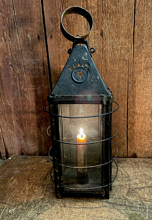 19th C Cleated Candle Lantern with Stars
