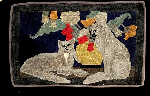 Early Hand Hooked Cat Rug