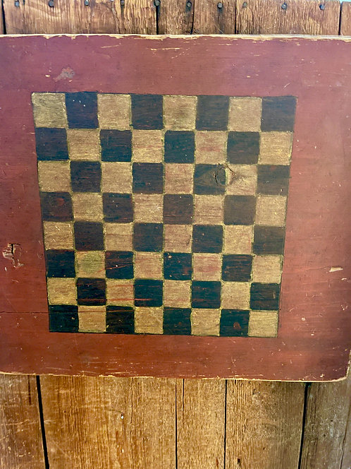 19th C Folk Art Game Board on Thick Plank