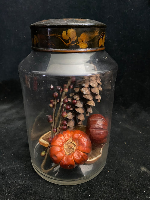 """7 1/4"""" Hand Blown Apothecary Jar Tole Painted Lid"""