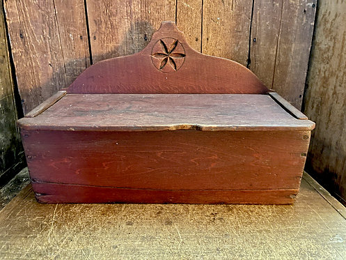 19th C Hinged Top Box with Pinwheel Design in Red