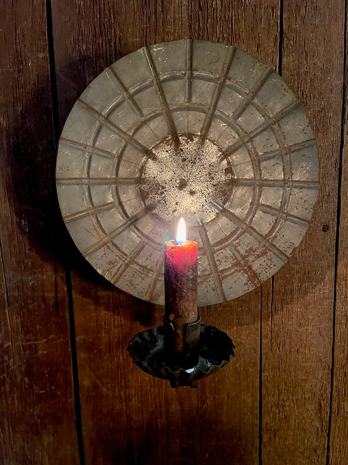 19th C Tin Pie Plate Candle Sconce