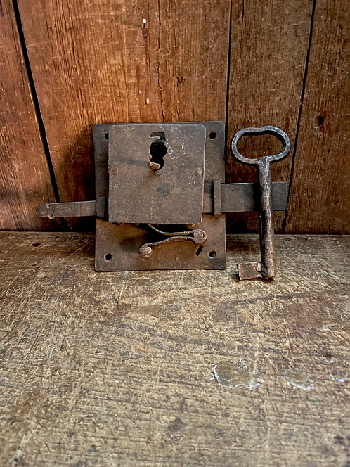 Very Early Wrought Iron Lock and Key