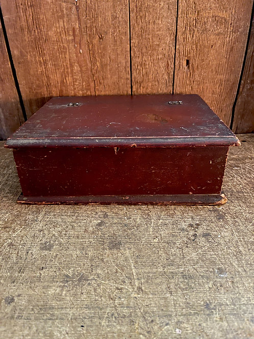 19th C Small Lift Top Box in Oxblood Red
