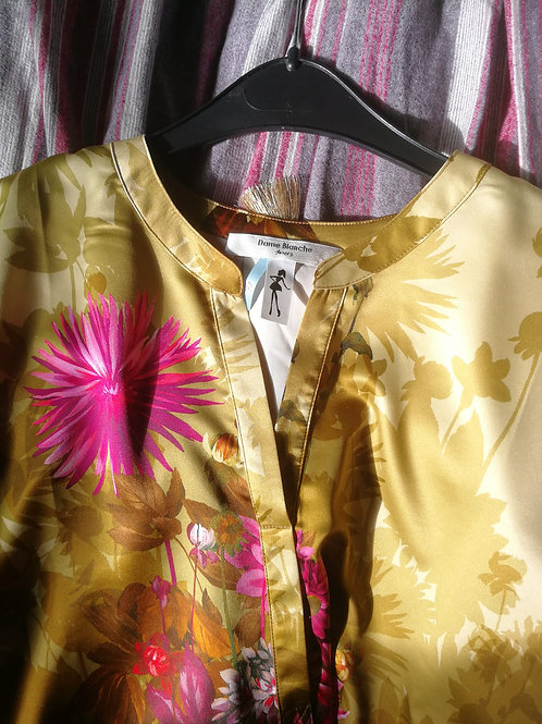 Dame blanche blouse anis/fushia