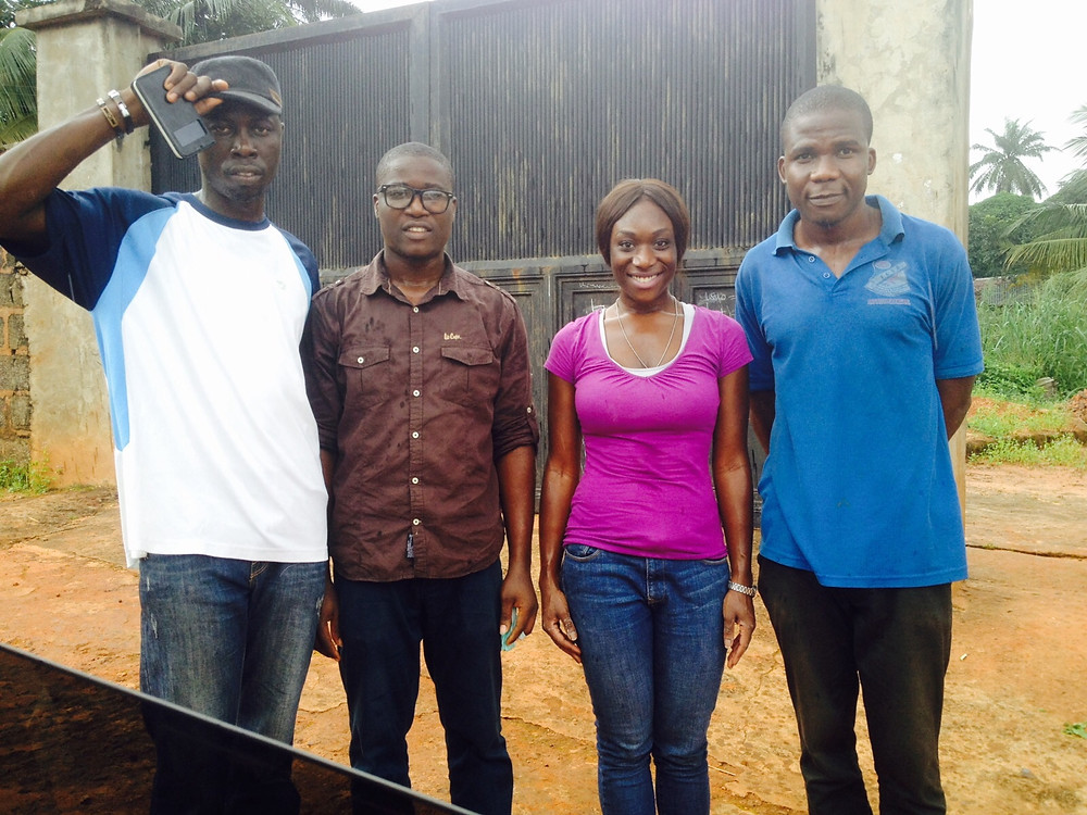 From Left to Right, Kenechukwu Odimegwu, Exquisite Water Nigeria Logistics, Raluchukwu Odimegwu, ExquisiteWater Project Manager, Amanda Sunny, ExquisiteWater Director, and Okoye Nnajiofor 'John', Ukpu Town Indigen and Representative and Liaison.