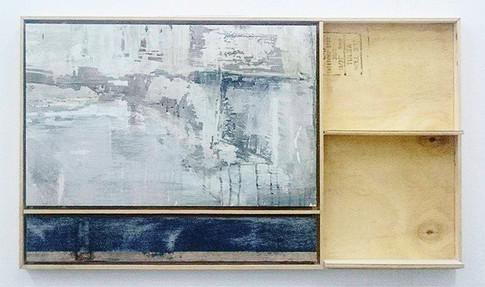 A L Kleiner  Landscape Shelf, 2017  Mixed media painting  56 x 97.5 x 9 cm