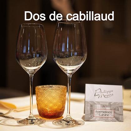 Dos de cabillaud, graines de moutarde, asperges de malines, sauce vin blanc