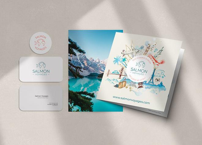 identité visuelle avec logo, carte de visite et flyer