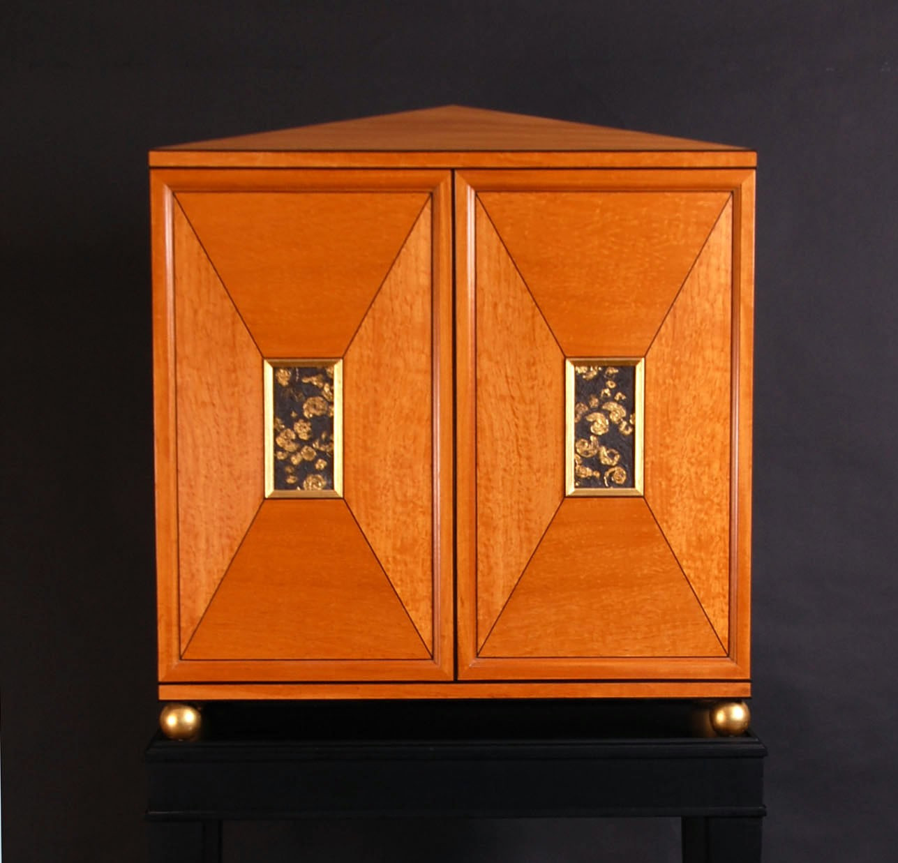 satinwood table cabinet with fossil pane