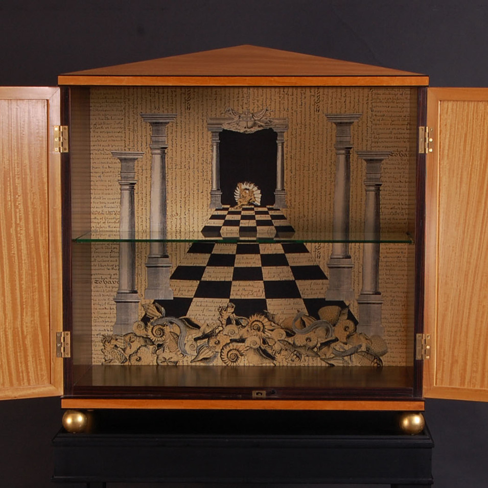 satinwood cabinet interior