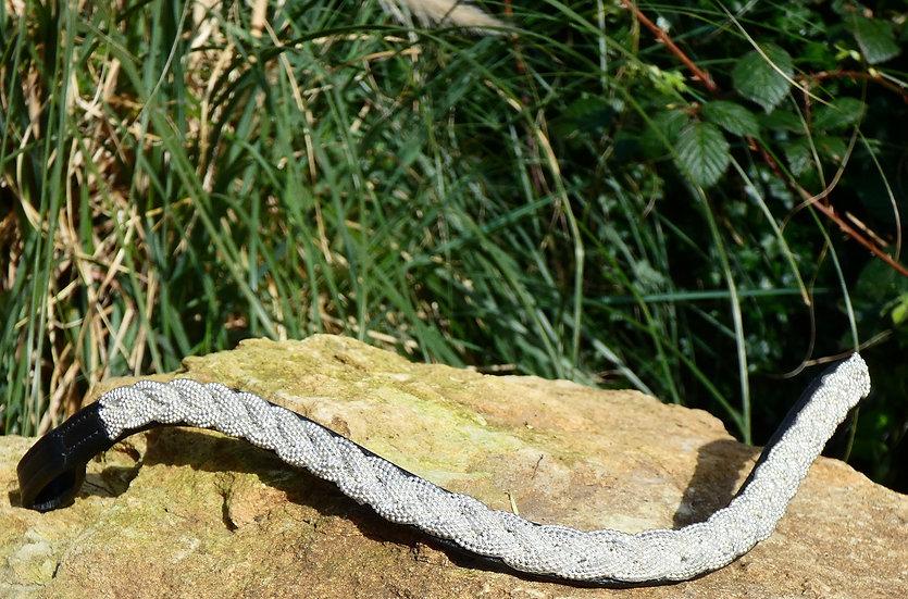 Silver colour plait browband