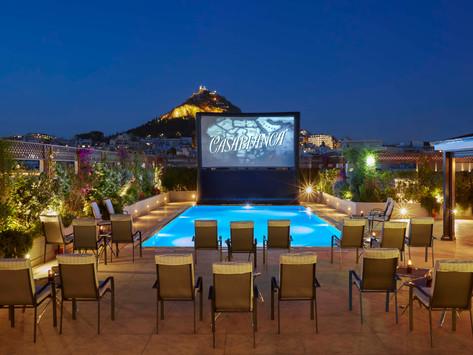 """Pool your Cinema"" at the hotel Grande Bretagne"