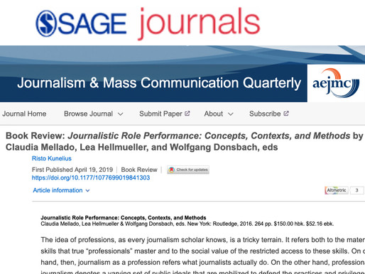 Book Review: Journalistic Role Performance: Concepts, Contexts, and Methods