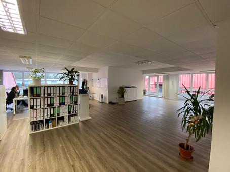 Neue Verwaltung in eigenen Büros am Standort Gutenbergstraße.