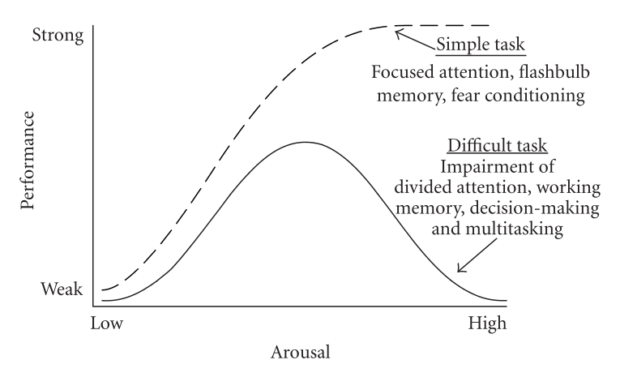 Deterioration of a Person's Performance  in relation to arousal levels