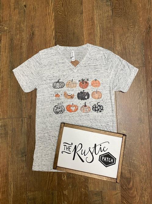 Pumpkin Variety V Neck Shirt