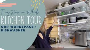 Tiny House Storage + Organization Tour: Kitchen Workspace + Dishwasher