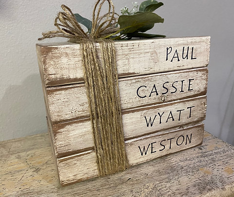 Personalized Rustic Stacked Decor
