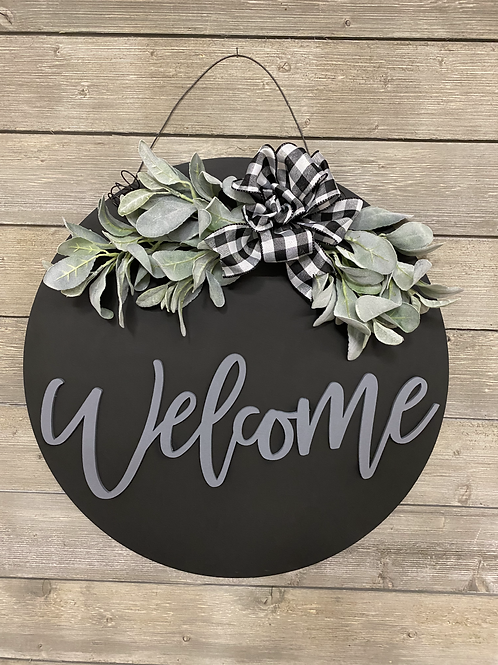 Welcome Wreath with Greenery (Grey Lettering)