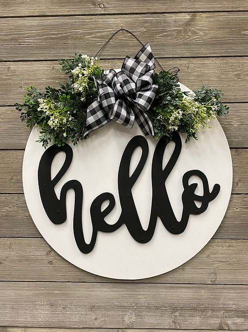 """Hello"" Door Charm + Greenery"