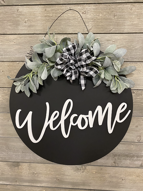 Welcome Wreath with Greenery (White Lettering)