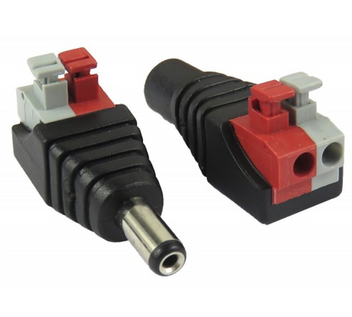 DC Male-to-Female Jack Connector – Screwless