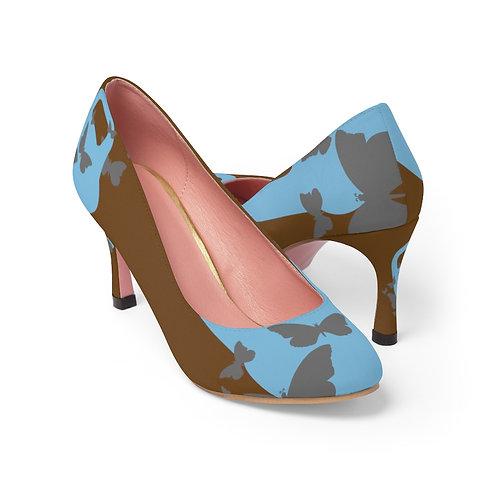 Kettlebell powder blue butterfly Women's High Heels -brown