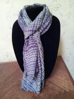Olive Plum arashi shibori scarf