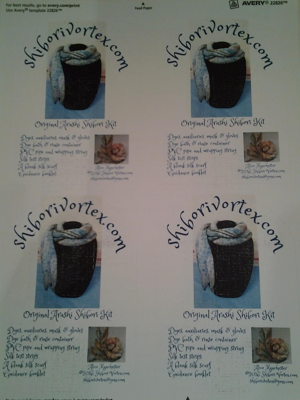 Arashi shibori kit labels