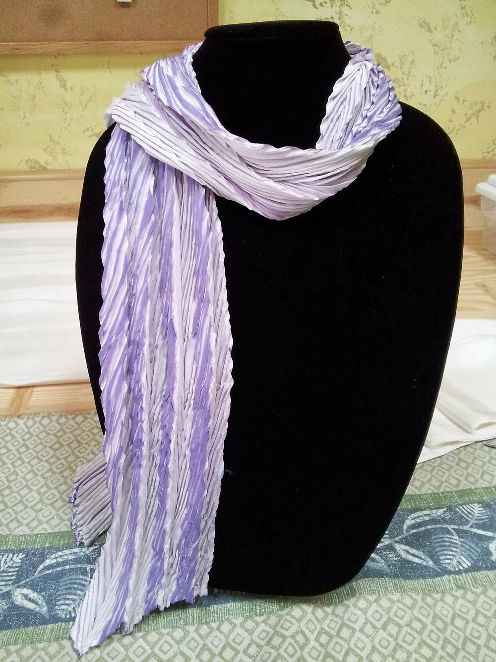 Shibori double pleated scarf