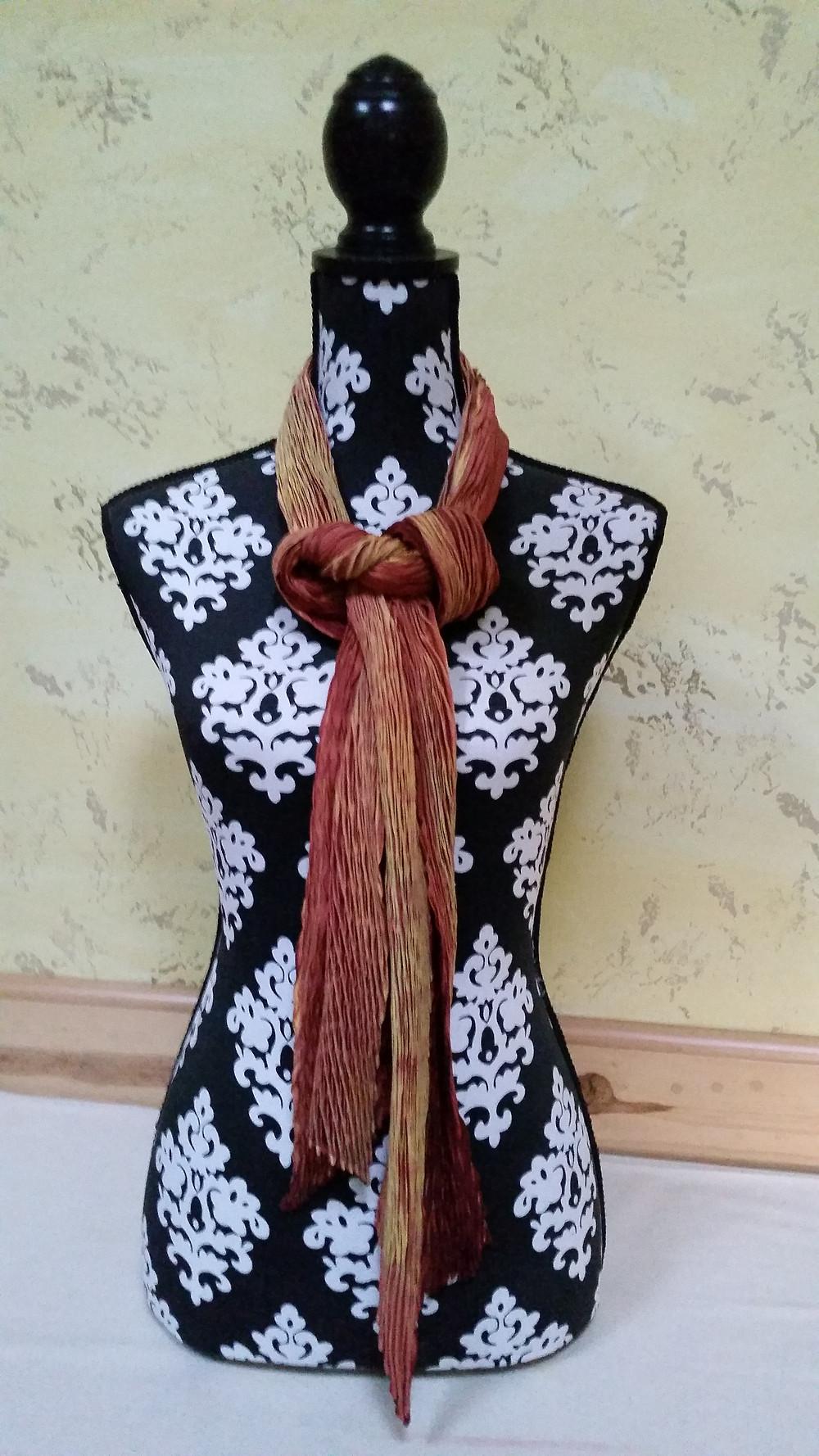 Orange Mystery shibori scarf