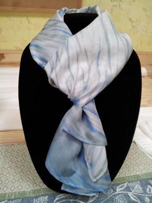 Silver sage bomaki shibori scarf