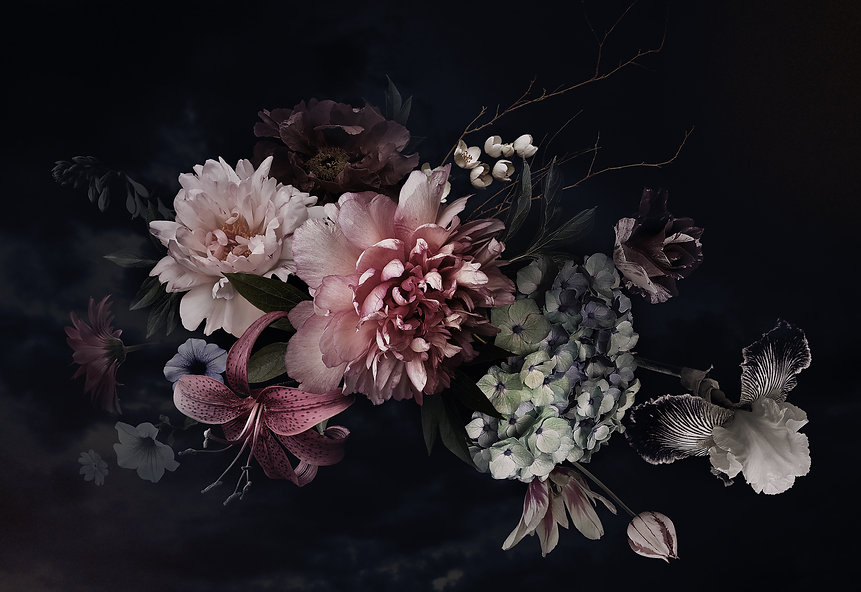 Vintage flowers. Peonies, tulips, lily,