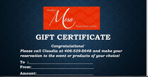 GIFT Certificate- Hands-On-Cooking Class
