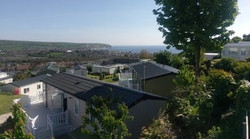 View over park of Swanage Bay