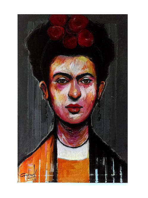 """Obra """"Kahlo"""" en tecnica acrilica sobre tela y formato grande!"""