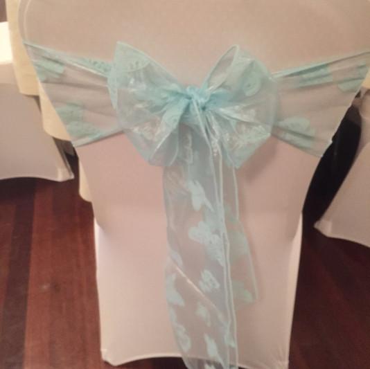Ice Blue flocked organza sash